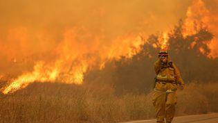 Un pompier devant les flammes provoquées par l'incendie qui fait rage au nord de Los Angeles (Etats-Unis), le 24 juillet 2016. (JONATHAN ALCORN / REUTERS)