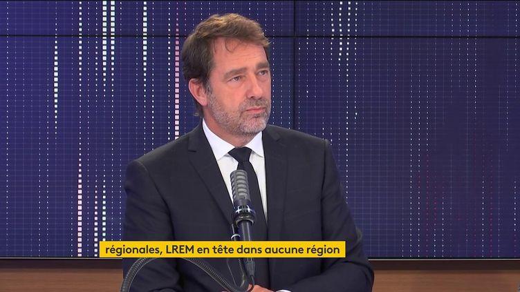 Christophe Castaner, le président du groupe LREM à l'Assemblée nationale, était l'invité du 8h30 franceinfo lundi 21 juin 2021. (FRANCEINFO / RADIOFRANCE)
