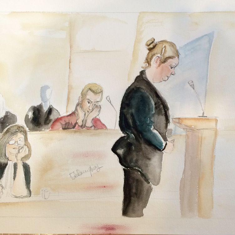 Christophe Champenois, au centre, et Charlène Cotte, à droite, les parents du petit Bastien, jugés devant la cour d'assises de Seine-et-Marne, le 8 septembre 2015. (ELISABETH DE POURQUERY / FRANCETV INFO)
