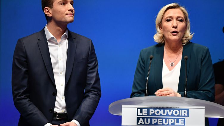 Marine Le Pen et Jordan Bardella à Paris, le 13 janvier 2019. (MUSTAFA YALCIN / ANADOLU AGENCY / AFP)