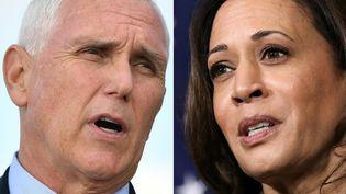 Les candidats à la vice-présidence des Etats-Unis. Pour les républicains, l'actuel vice-président Mike Pence (à gauche), et la colistère démocrate Kamala Harris (à droite). (MANDEL NGAN / AFP)