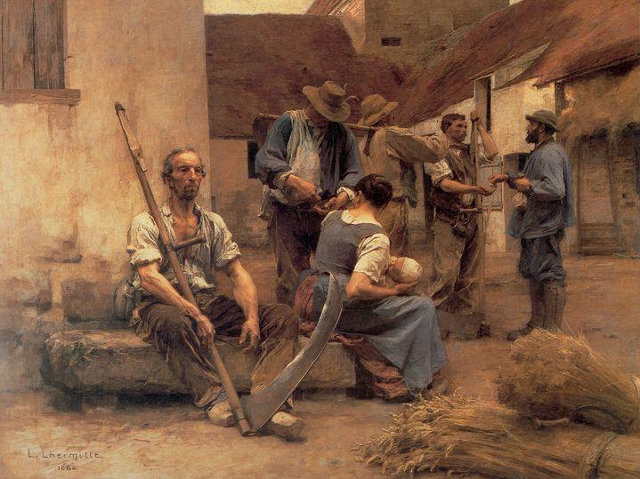"""""""La paie des moissonneurs"""" Paysans dans une cour de ferme, l'un d'eux tient une faux. Peinture de Leon Augustin Lhermitte (1844-1925) 1882 Dim. 2,15x2,72 m Paris, musée d'Orsay  (Photo Josse / Leemage)"""