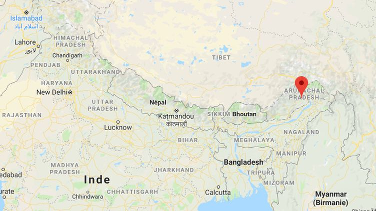 Capture d'écran d'une carte de l'Inde. (GOOGLE MAPS)
