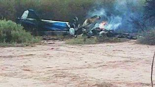 Les épaves des hélicoptères dans lesquels ont péri 10 personnes, le 9 mars 2015 près de Villa Castelli (Argentine). (FENIX / SIPA)