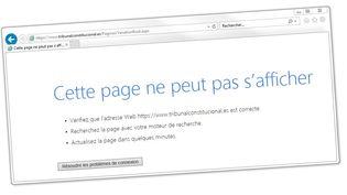 Capture d'écran du site de la Cour constitutionnelle espagnole, innaccessible après une attaque informatique, samedi21 octobre. (FRANCEINFO)