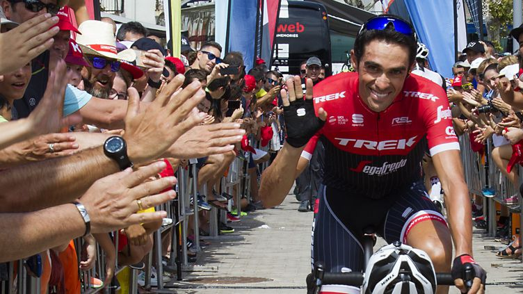 Alberto Contador (Trek-Segafredo) sur la cinquième étape de la Vuelta (JAIME REINA / AFP)