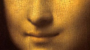 Détail du tableau représentant le sourire de la Joconde, au Louvre  (Leemage)