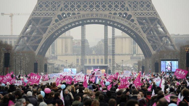 Lors de la Manif pour tous,le 13 janvier 2013 sur le Champ-de-Mars, à Paris. (LIONEL BONAVENTURE / AFP)