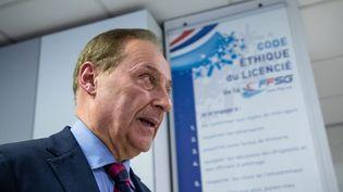 Didier Gailhaguet lors d'une conférence de presse à la Fédération mercredi 5 février. (AURELIEN MORISSARD / MAXPPP)