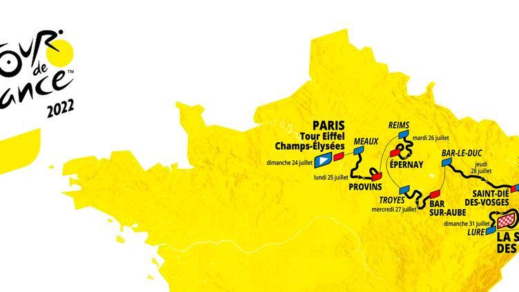 Le tracé du Tour de France Femmes 2022 dévoilé à Paris le jeudi 14 octobre 2021. (ASO)