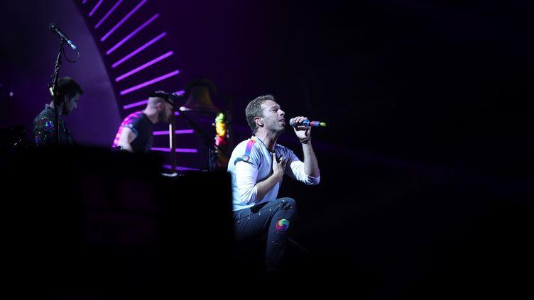 Chris Martin, le leader de Coldplay, en concert à Hambourg, en Allemagne, le 6 juillet 2017. (RONNY HARTMANN / AFP)