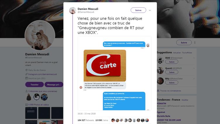 Capture d'écran du tweet de Damien Mescudi, le 16 mai 2018. (TWITTER.COM)