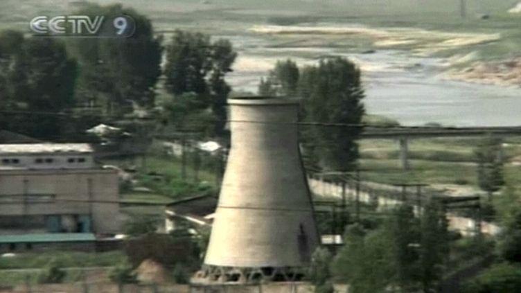 Une partie du site nucléaire nord-coréen de Yongbyon (Corée du Nord), filmée par la télévision chinoise CCTV le 27 juin 2008, peu avant sa destruction. (AFP / CCTV)