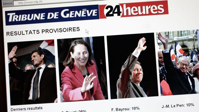 """La page d'accueil du site du quotidien suisse """"La Tribune de Genève"""", le 22 avril 2007, avant 20 heures. (FABRICE COFFRINI / AFP)"""