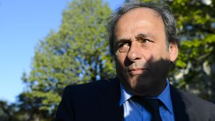 Michel Platini devant le Tribunal arbitral du sport, le 29 avril 2016 à Lausanne (Suisse). (FABRICE COFFRINI / AFP)