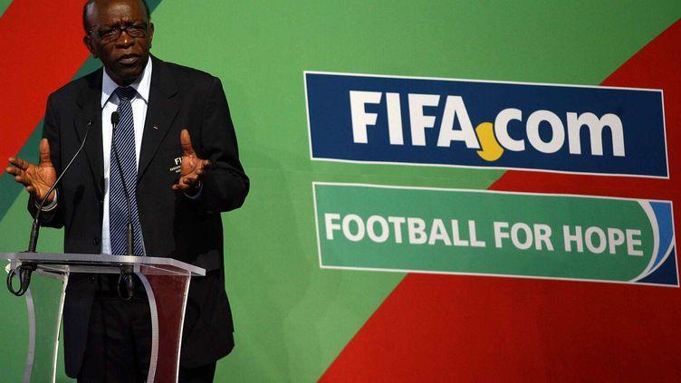 Jack Warner lors d'une conférence de presse de la Fifa à Mexico (Mexique), le 17 mai 2011. (OSVALDO AGUILAR / MEXSPORT / AFP)