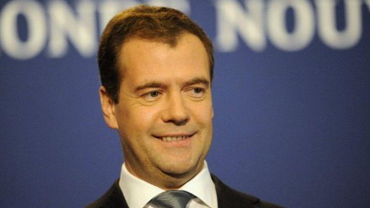 Le président russe Dmitri Medvedev lors d'une conférence de presse à la fin du sommet du G8 le 27 mai 2011 à Deauville (AFP - DAMIEN MEYER)
