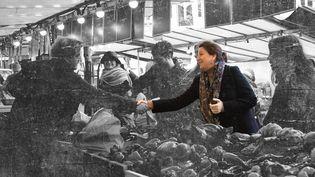 Agnès Buzyn, candidate LREM à la mairie de Paris, sur le marché d'Auteuil, dans le 16e arrondissement, le 29 février 2020. (ERIC TSCHAEN / REA / PIERRE-ALBERT JOSSERAND / FRANCEINFO)
