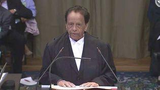 L'ancien Premier ministre mauricien Anerood Jugnauth plaide la cause de son pays à la barre de la Cour internationale de justice. (CIJ/Le Mauricien)