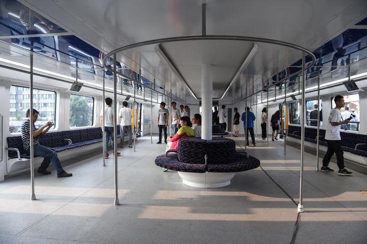 L'intérieur du TEB-1, qui peut accueillir jusqu'à 300 personnes. (LUO XIAOGUANG / NURPHOTO / AFP)