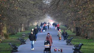 Des promeneurs dans le parc de Greenwich dans le sud-est de Londres (Royaume-Uni) samedi 23 janvier 2021. (DANIEL LEAL-OLIVAS / AFP)