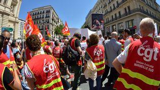 Des manifestants CGT à Marseille protestant contre la loi travail, le 8 juin 2017 (CITIZENSIDE/GERARD BOTTINO / CITIZENSIDE)