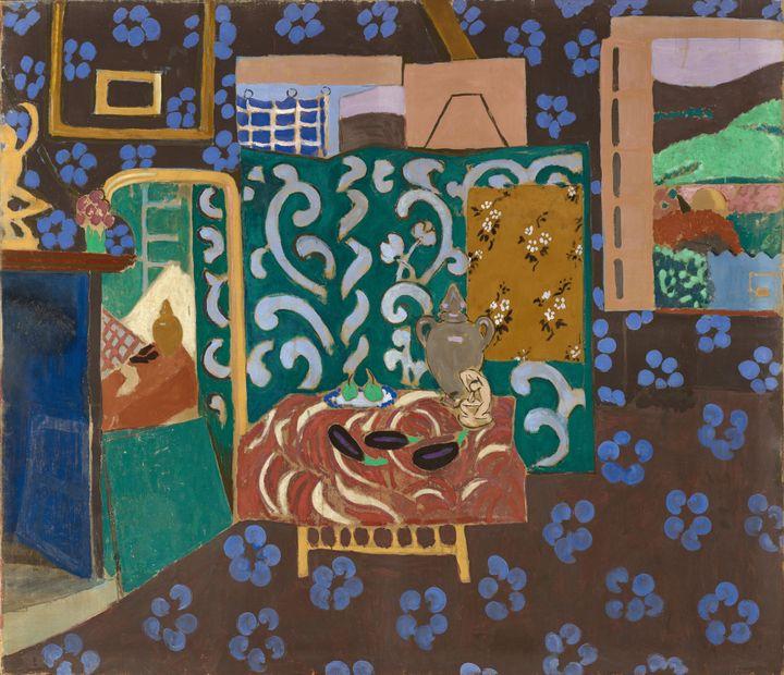 """Henri Matisse, """"Intérieur aux aubergines"""", 1911, Musée de Grenoble, Don de Madame Amélie Matisse et Mademoiselle Marguerite Matisse, 1922 (© Succession H. Matisse Photo © Ville de Grenoble/Musée de Grenoble- J.L. Lacroix)"""