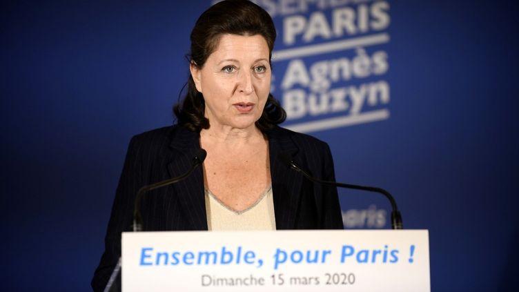 La candidate LREM à la mairie de Paris, Agnès Buzyn, lors d'un discours au siège de campagne, à Paris, le 15 mars 2020. (JULIEN DE ROSA / AFP)