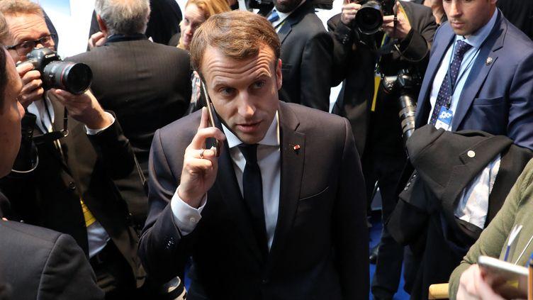 Le président de la République Emmanuel Macron, lors d'un sommet social européen à Göteborg (Suède), le 17 novembre 2017. (LUDOVIC MARIN / AFP)