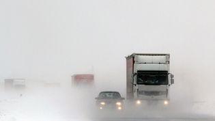 Des voitures et poids-lourds dans le blizzard, sur une autoroute à 180 km au sud de Belgrade (Serbie), le 11 février 2012. (SASA DJORDJEVIC / AFP)