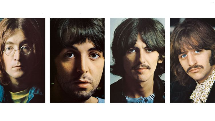 """Les portraits glissés dans l'album The Beatles dit """"L'album Blanc"""", de John Lennon, Paul McCartney, George Harrison et Ringo Starr en 1968.  (John Kelly/ Apple / Universal Music)"""