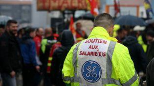 Manifestation de soutien aux salariés de General Electric de Belfort en octobre 2019. (LIONEL VADAM  / MAXPPP)
