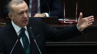 Recep Tayyip Erdogan, le président de la Turquie, à la Grande Assemblée nationale à Ankara, le 10 février 2021. (ADEM ALTAN / AFP)