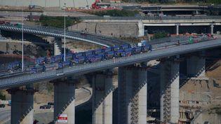Le nouveau de pont de Gênes en Italie est inauguré lundi 3 août. (MASSIMO LOVATI / MAXPPP)