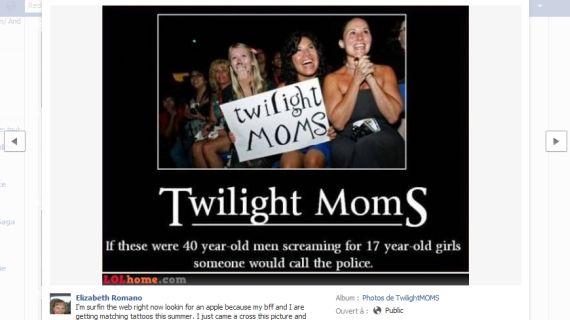 Capture d'écran d'une photo partagée sur la page Facebook de TwilightMoms.com. (DR)