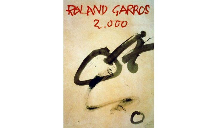 Affiche de l'édition 2000 du tournoi de tennis Roland Garros, dessinée par Antoni Tàpies. (AFP)