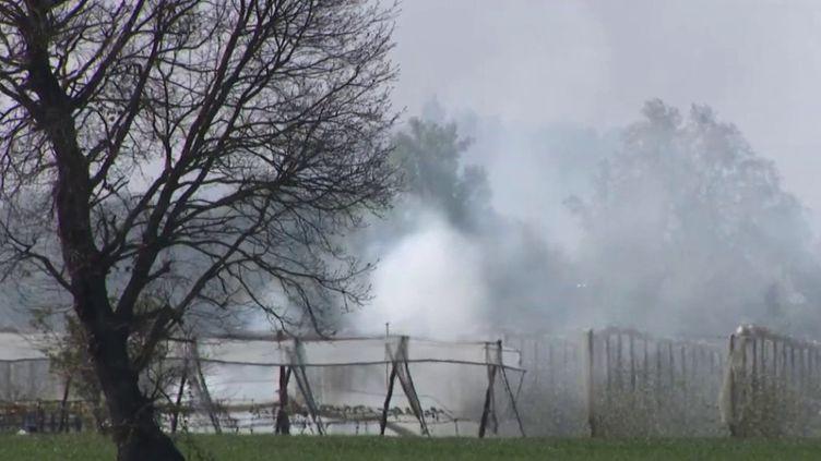Certains habitants de la commune d'Ambres, dans le Tarn, ont été intoxiqués par d'épaisses fumées noires générées par des feux allumés par des agriculteurs, mardi 13 avril. (CAPTURE ECRAN FRANCE 2)