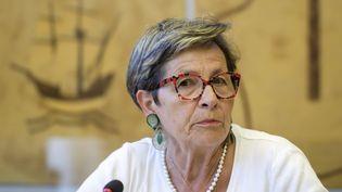 Viviane Lambert, la mère de Vincent Lambert, devant le conseil des droits de l'homme des Nations unies à Genève (Suisse), le 1er juillet 2019. (FABRICE COFFRINI / AFP)