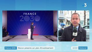 Emmanuel Macron a présenté, le mardi 12 octobre, son plan d'investissement France 2030.À quelques jours de la présidentielle, les annonces de Macron sonnent comme un programme de candidat.En duplex depuis l'Elysée, GuillaumeDaret, donne des précisions sur celui-ci. (Capture d'écran France 3)