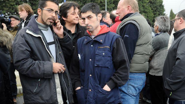 Castelnaudary dans l'Aude et les salariés de Spanghero vivent mal la suspension de l'usine280 employés et 70 intérimaires craignent pour leur emploi dans un département, l'Aude, où le taux de chômage atteint 13,5%. - 15 février 2013 (REMY GABALDA / AFP)