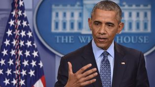 Barack Obama accorde sa dernière conférence de presse en tant que président, mercredi 18 janvier 2018 à Washington (Etats-Unis). (NICHOLAS KAMM / AFP)