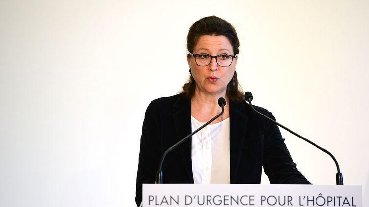 La ministre des Solidarités et de la Santé Agnès Buzyn lors de la conférence de presse de présentation des mesures d'urgence pour les hôpitaux de Paris le 20 novembre 2019 (MARTIN BUREAU / AFP)