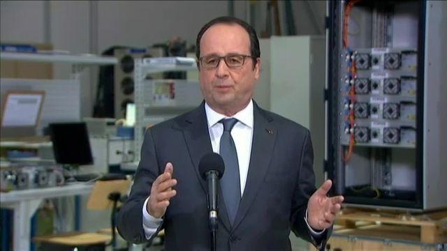 François Hollande a défendu la loi travail lors de sa visite d'une entreprise en Seine-et-Marne, jeudi 10 mars 2016.