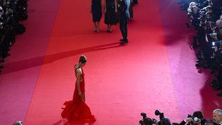 """La mannequinBella Hadid durant la montée des marches de """"Douleur et gloire"""" de Pedro Almodovar. (ANTONIN THUILLIER / AFP)"""
