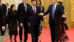 Le président chinois Xi Jinping et Donald Trump, le 9 novembre 2017, à Pékin. (JIM WATSON / AFP)
