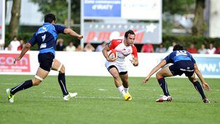 Le short du Montpellier Rugby, sur lequel figure de la publicité, le 24 août 2013 lors d'un match contre Biarritz. (NICOLAS MOLLO / AFP)