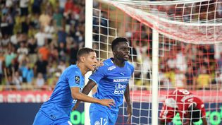 Bamba Dieng, buteur avec l'OM, samedi 11 septembre, face à l'AS Monaco lors de la cinquième journée de Ligue 1. (VALERY HACHE / AFP)
