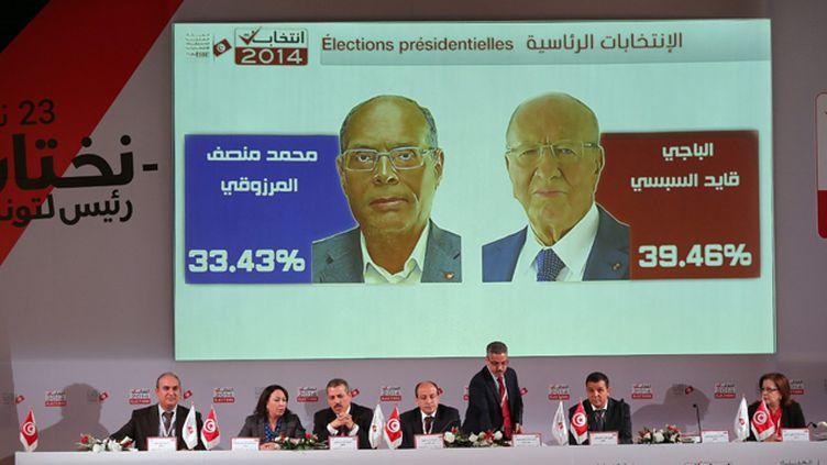 (Au premier tour de la présidentielle, le 23 novembre, Essebsi était arrivé en tête avec 39% des suffrages contre 33% à Marzouki © Maxppp)