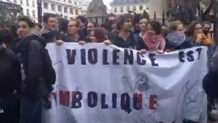 Capture d'écran d'une vidéo postée sur Periscope et montrant une action de sympathisants de Nuit debout, le 22 avril 2016, à Paris. (REMY BUISINE / PERISCOPE)