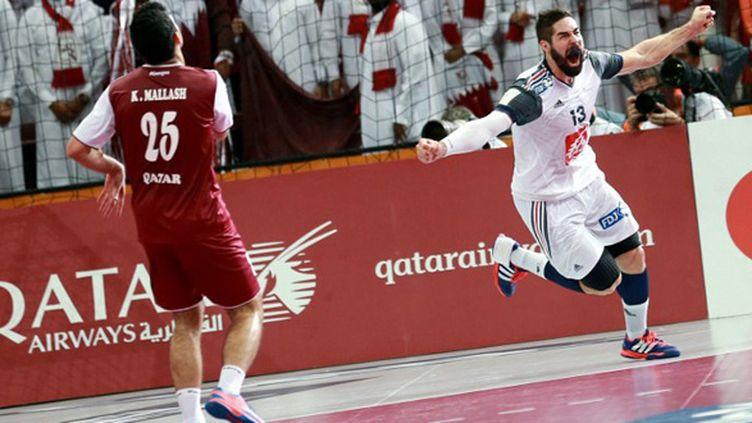 La joie de Nikola Karabatic, auteur de cinq buts en finale contre le Qatar (MOHAMED FARAG / ANADOLU AGENCY)